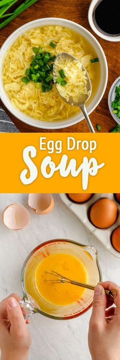 Egg Drop Soup - Egg Drop Soup is creamy, restaurant style soup with ribbons of eggs, that can be made in just 10 minutes. Easy Soup Recipes, Dinner Recipes, Cooking Recipes, Delicious Recipes, Chowder Recipes, Dinner Ideas, Tasty, Asian Chopped Salad, My Favorite Food