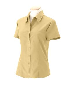 Harriton Womens Barbados Textured Blend Short Sleeve Button Down Camp Shirt M560W