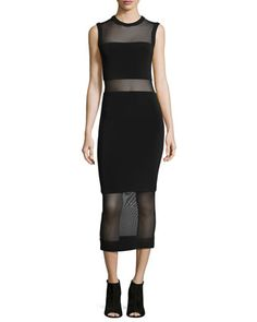 Sleeveless Sheer-Inset Midi Dress, Black by Alice + Olivia at Neiman Marcus.
