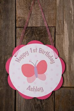 Butterfly Themed Happy Birthday Party Sign - Butterfly Door Hanger - Butterfly Birthday Party Decorations