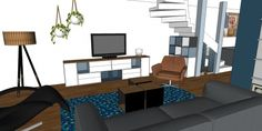 3D impressie interieurontwerp woonkamer Uitgeest by Flow Design (5)