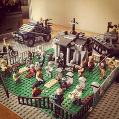 Lego parody of the Walking Dead in a zombie graveyard scene with my new tank