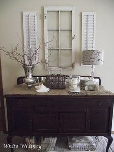Great ideas to decorate our new buffet! Like the idea of the rug underneath and the baskets