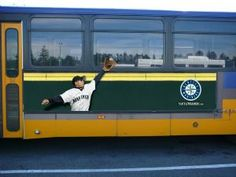 #OOH #baseball #bus #advertising #Seattle #Mariner Bus Advertising, Advertising Design, Guerrilla, Marketing, Marines, Seattle, Design Ideas, Baseball, Board