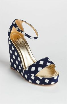 gingham wedge, ankle straps