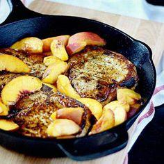 Pork chops & peaches