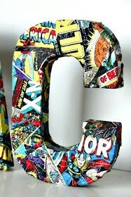 Cool wedding centerpiece idea...paper mache on cutout letter of last name or on a mason jar with comic book strips. ♥ LOVE
