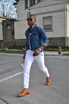 Sabir of Mens Style Pro wearing: The Rondo Spread Collar Shirt by Hugh Crye Asos Denim Jacket White Chinos by Bonobos Adidas Zx Flux, White Chinos, White Jeans, Nike Roshe One, Next Fashion, Men's Fashion, Fashion Lookbook, Fashion Trends, Double Monk Strap Shoes
