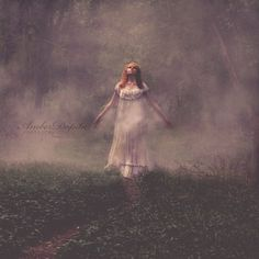 Walking Through Fog in Forrest Fine Art Photo by DopitaPhotography