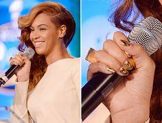 Beyonce's gold chevron Super Bowl XLVII nails