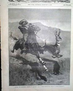 "Harper's Weekly, February 1889 ""Hunting the prong Horn Antelope in California"" and ""Mounted Policemen Arresting Burglars Uptown in New York"""
