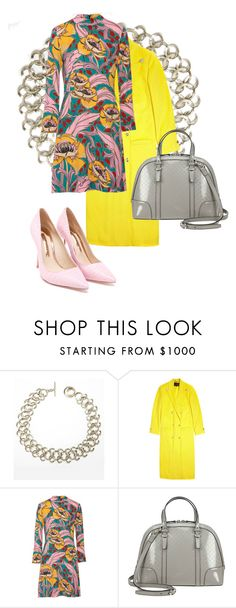 print pretty. dress heels bag and coat. Floral dress yellow coat grey bag pink heels by kohlanndesigns on Polyvore featuring Marni, Versace, Sophia Webster, Gucci and polyvoreeditorial