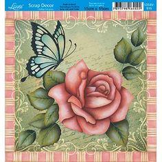 Papel-Scrap-Decor-Folha-Simples-15x15-Flores-Borboleta-SDSXV-016---Litoarte