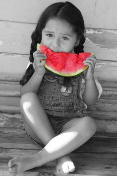 Watermelon time :) .........red white black