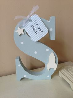 Freestanding Boy's Wooden Initial Letter with tag on Etsy, £8.00