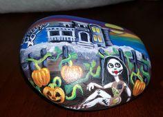 painted rock haunted halloween by StoniesbyHeidi on Etsy