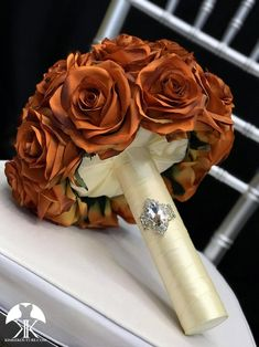 BURNT ORANGE Bridal Bouquet With BROOCH Handle. Burnt Orange Bouquet. Burnt Orange Brooch Bouquet. Burnt Orange Wedding. Qunceanera Bouquet. Pick color!! Bouquet measures approximately 11 wide and 13 in height.  This dreamy Flower Ball Centerpiece, Blue Wedding Centerpieces, Mickey Centerpiece, Yellow Wedding, Fall Wedding, Wedding Decor, Lime Wedding, Wedding Gifts, Mauve Wedding