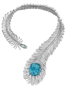 """Moussaieff's feather necklace features a natural """"no heat"""" vibrant neon green Paraiba-like tourmaline from Mozambique, mounted in a titanium feather necklace set with 56.35ct of diamonds."""