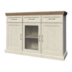Sideboard Furniture Cabinet Doors Drawers Hallway Wooden Brown White Hall Shelf