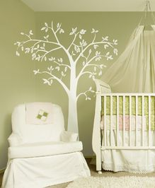 We did something similar to this in the babies' room above their cribs. Definitely makes their room look fun and unique! Clint designed his own trees though and printed them out at work.