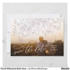 Shop Floral Whimsical Boho Save the Date Photo Card created by PhrosneRasDesign. Save The Date Photos, Save The Date Cards, Boho Wedding, Floral Wedding, Calligraphy Save The Dates, Good Cheer, Monogram Wedding, Wedding Save The Dates, Personal Photo