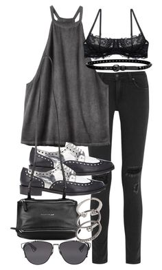 """""""Untitled #18743"""" by florencia95 ❤ liked on Polyvore featuring rag & bone, RVCA, Robert Clergerie, Givenchy, Linea Pelle, Forever 21 and Christian Dior"""
