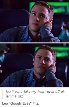 When I hadn't looked at the words I thought 'he's looking at something (probably Jemma)' for the first picture and for the second one 'wow she's so smart I love her so much she's also really cute'