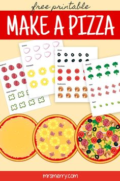 Make a pizza with our free kids craft. Comes with a plain pizza cut out and 4 sheets of toppings! Cut out and start creating your masterpiece. #freekidsprintables #makeapizzacraft #freekidsactivitiesforpreschoolers #teacheractivitiesforkids #thingstodowithkids #melissanddoughcraft #printablecutouts #mrsmerry
