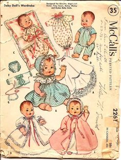1950s Baby Doll Clothes - McCalls 2261 Vintage Pattern - Sized for 19-21in doll. $10.00, via Etsy.