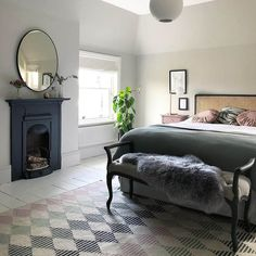Recent spare room makeover. Dark furniture and fireplace painted using Fusion Mineral Paint Ash and Midnight Blue. White floorboards painted in Eico Antique White and the walls are Little Green Slaked Lime Deep. Winter Bedroom, Home Bedroom, Modern Bedroom, Bedroom Decor, Bedroom Ideas, Modern Victorian Bedroom, Warm Bedroom, Edwardian House, Cottage Bedrooms