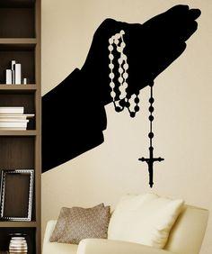 Vinyl Wall Decal Sticker Rosary Hands Silhouette 5460 Vinyl