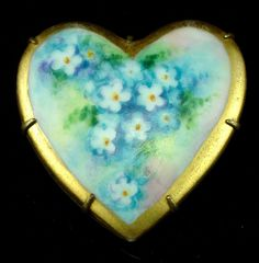 Early 1900s Hand Painted Porcelain Flower Heart Shape Brooch