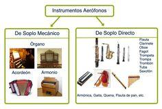 Aerófonos: el sonido se origina en ellos por vibraciones de una columna de aire. Uno de los primeros instrumentos es la flauta, en un principio construida con un hueso con agujeros.