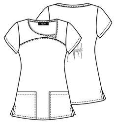 Broken link but nice neckline Sewing Clothes Women, Diy Clothes, Clothes For Women, Scrubs Pattern, Top Pattern, Beauty Uniforms, Modelista, Fashion Figures, Fashion Design Drawings