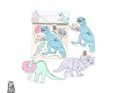 Surface Pattern Designs by TasherellaKitty on Etsy Dinosaur Vinyl Stickers! Tea Rex and Donuts! Stationary Supplies, Surface Pattern Design, Pattern Designs, Dinosaur Birthday, Etsy Uk, My Design, Unique Gifts, Etsy Seller, Hand Painted