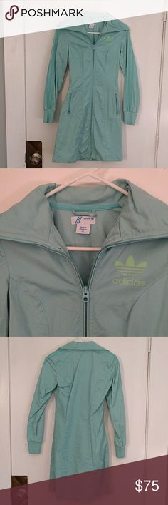 Vintage aqua adidas long jacket Love this jacket. Not sure of the history, got it from a consignment store. It has a few blemishes and could use a proper cleaning, but bodycon cute. The fabric is a stretchy soft canvas Adidas Jackets & Coats Utility Jackets