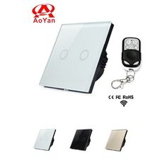 27.18$  Watch now - http://aixtb.worlditems.win/all/product.php?id=32711146138 - Aoyan EU Standard Touch Switch,2 Gang 1 Way White Crystal Glass Panel Wall Switch,110-250V Wall Light Remote Switch - LUV