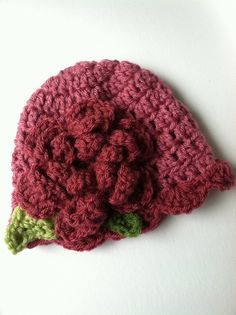Crochet Baby Hat with Flower Fuscia Hat by LakeviewCottageKids, $18.00