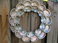 Beach Decor Abalone and Limpet Seashell Wreath