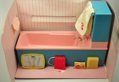 1968 Scenesetters - My Sindy bath with a tank so that water came out through the tap! I loved this.