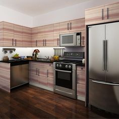kitchen cabinets, melamine, red brown, OP14-M03