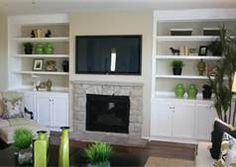 Furniture Design, The Nice Design Of The Wall Unit With The White Storage And The White Cabinet With The Gray Stone Fireplace Also Accessories: The Exciting Design Of The Built In Wall Units With The Best Style Of The Wall Units Built In Tv Wall Unit, Tv Built In, Built In Shelves, Build Shelves, Grey Stone Fireplace, Kitchen Built Ins, White Built Ins, Fireplace Bookshelves, Fireplace Wall