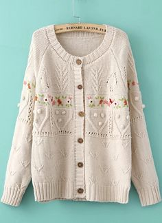 Beige Long Sleeve Embroidered Buttons Knit Sweater - Sheinside.com