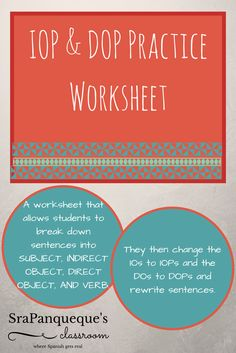 This is a worksheet that breaks down Indirect & Direct Object Pronouns for students in a way that is very simple to understand! Students break down the sentence into four parts: Subject, Indirect Object, Direct Object, Verb. Then, there is a place where they can change the IO to its indirect object pronoun & the DO to its direct object pronoun. They then rewrite the sentence after finding out and breaking down all of the information themselves! It's great as a worksheet, game or quiz!