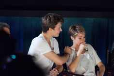 "Don't worry, her co-stars Ansel Elgort and Nat Wolff were quick to comfort her. | Shailene Woodley Cries While Watching The Premiere Of ""The Fault In Our Stars"""