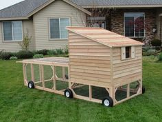 """I like this one but with the interior area higher off the ground for easier cleaning - see side pic of nest boxes in next image. Coop dimensions: 4x4ft for 4-5 chickens, total run area, 4x12 ft (includes under the coop). Use 1x1"""" welded wire (rabbit wire) to keep predators out (not chicken wire). And larger wire on base to prevent entry by digging (10cmx15cm rectangular wire). Use 'dog door' flaps at roost entrance to trap heat. Add carribeaner to next box flap to prevent egg stealers."""