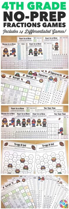 """""""I LOVE that these games include different skill levels for fractions and the kids LOVE them too!"""" This 4th Grade Fractions Games Pack includes 14 differentiated games for practicing equivalent fractions, comparing fractions, fractions on a number lines, decomposing fractions, adding fractions, subtracting fractions, and multiplying fractions by a whole number. These games support all of the 4th grade CCSS fraction standards!"""