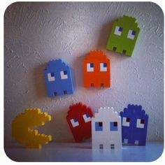 11 December - Finish Lego Pacman Ghosts Blinky, Inky, Pinky and . Lego Duplo, Lego Pacman, Retro Videos, Retro Video Games, Legos, Deco Lego, Lego Mosaic, Diy And Crafts, Crafts For Kids