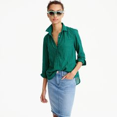 Tall gathered popover in two-tone gingham : Women shirts | J.Crew