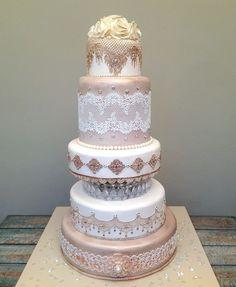 ❤ Big Cakes, Sweet Cakes, Desi Wedding, Lace Wedding, Wedding Dresses, Edible Lace, Ice Cake, Ribbon Art, Gorgeous Cakes